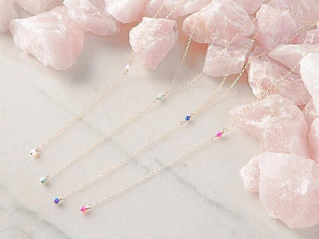 Dainty Opal Lariat Necklace