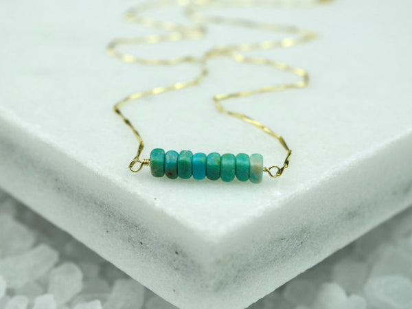 Heishi Birthstone Bar Necklace - December