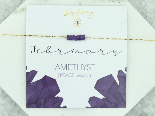Heishi Birthstone Bar Necklace - February