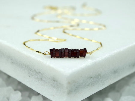 Heishi Birthstone Bar Necklace - April