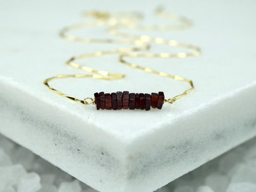 Heishi Birthstone Bar Necklace - January