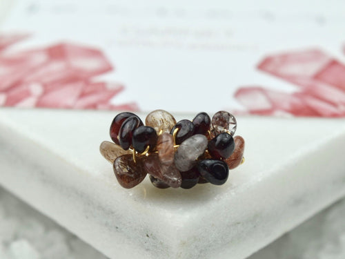 Natural Birthstone Cluster Ring - January