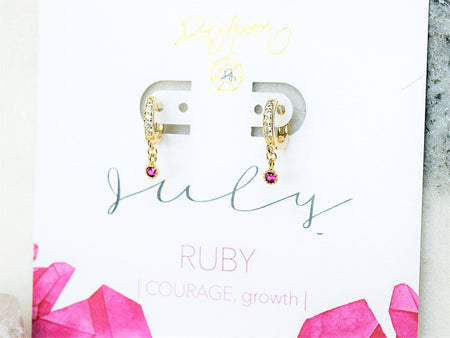 Ruby Bar Necklace - July