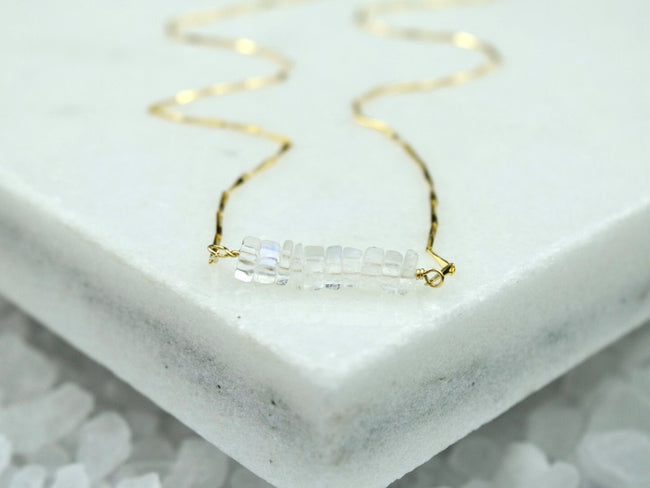 Heishi Birthstone Bar Necklace - June