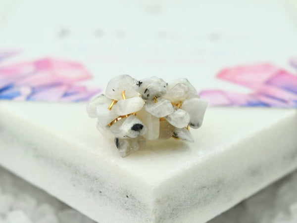 Natural Birthstone Cluster Ring - June
