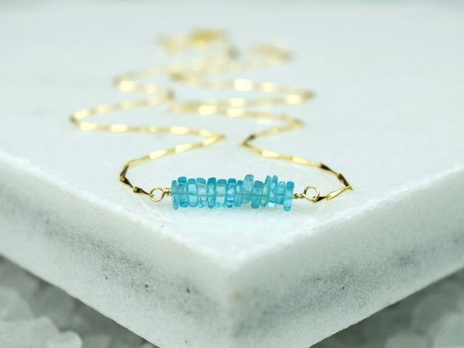 Heishi Birthstone Bar Necklace - March