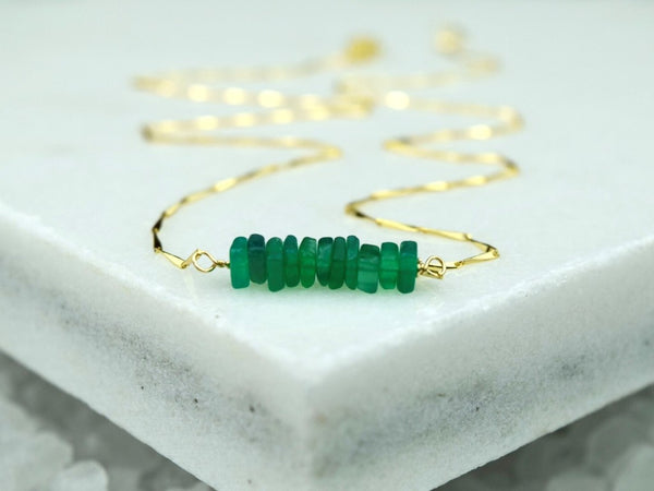 Heishi Birthstone Bar Necklace - May
