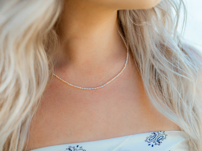Eloise Freshwater Pearl Necklace- Peach Sherbet