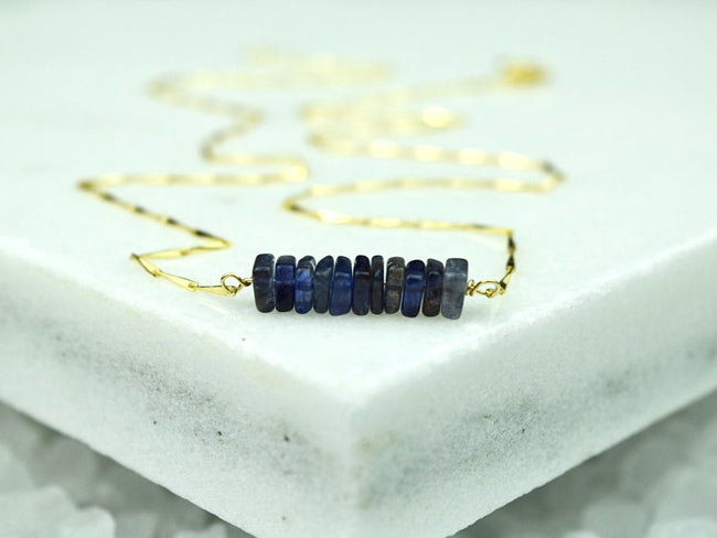 Heishi Birthstone Bar Necklace - September