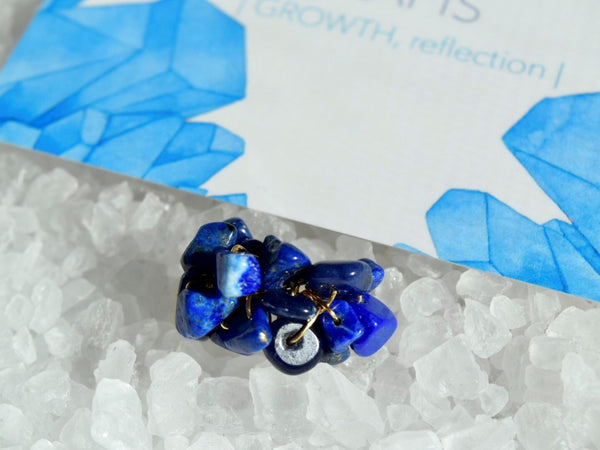 Natural Birthstone Cluster Ring - September Lapis