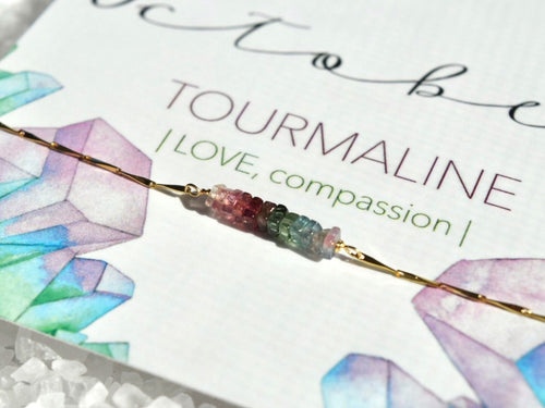 Heishi Birthstone Bar Necklace - October Tourmaline