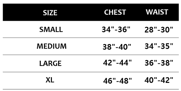 mens shirts size chart