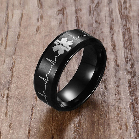 Stainless Steel Engraved Medical Ring