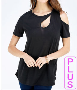 Faith Apparel Cold Shoulder Keyhole Top