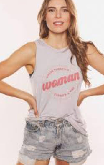 Where there's a woman there's a way Woven Back Muscle Tank