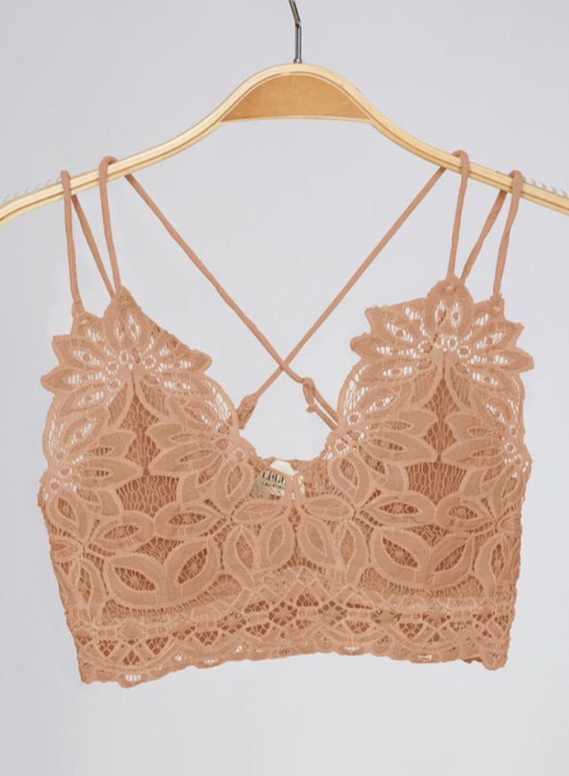 Dolly Lace Crochet Bralette Tan