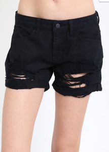 Distressed Black Shorts