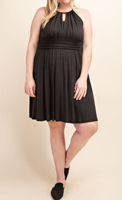 Halter Fit and Flare Dress Plus