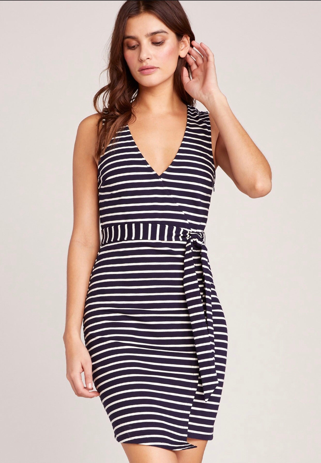 Jack by BB Dakota Yacht Party Tie Waist Dress Navy Stripe