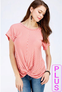 Faith Apparel Stripe Coral Short Sleeve W/ Twist Front Top Plus