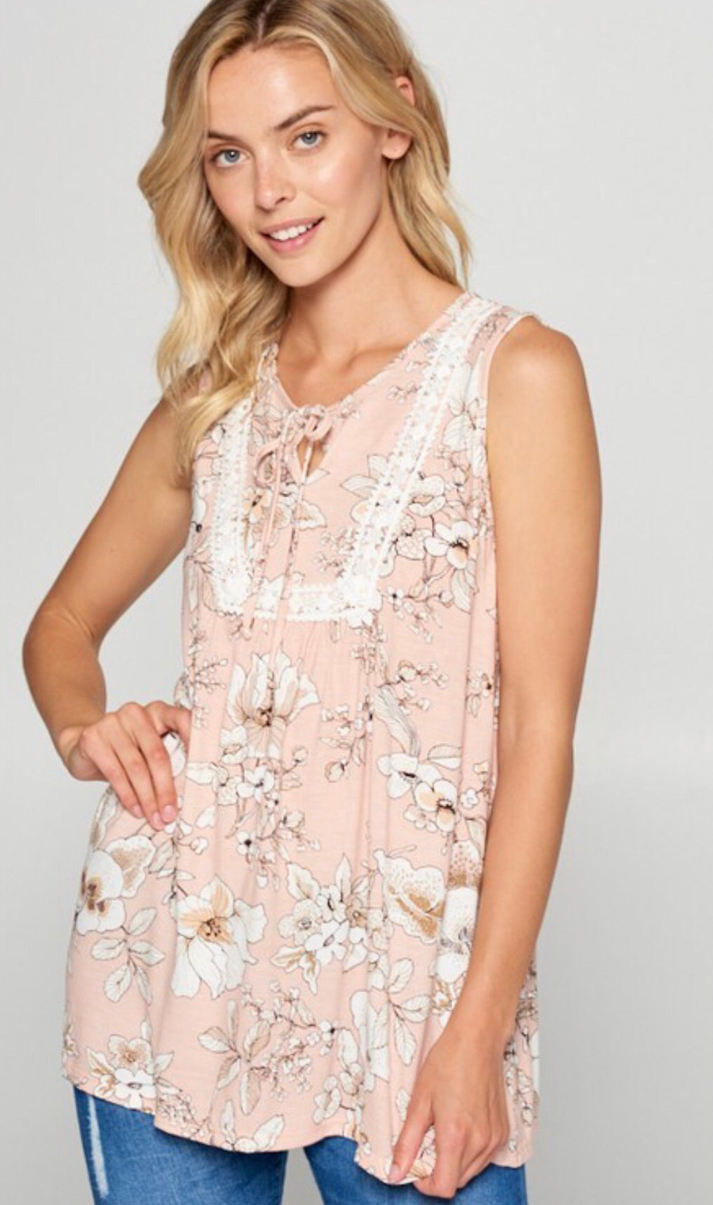 Faith Apparel Floral Print Tank W/ Lace Trim Plus