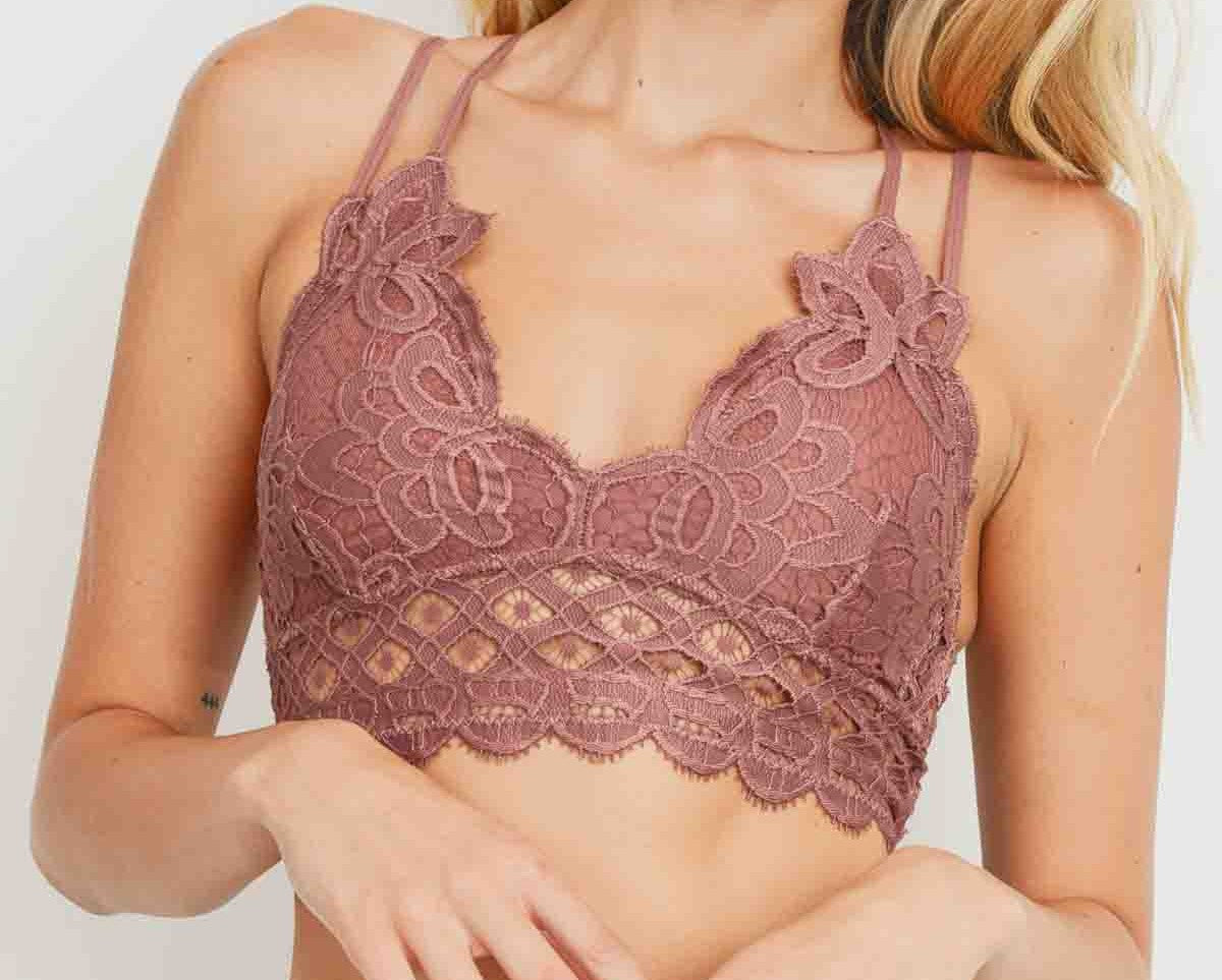 Scalloped Lace Bralette in Mauve