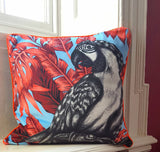 Luxury Velvet Parrot Cushion (grey velvet & orange piping)