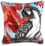 Luxury Parrot Cushion (orange velvet & blue piping)