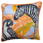 Luxury Velvet Zebra & Parrot Cushion
