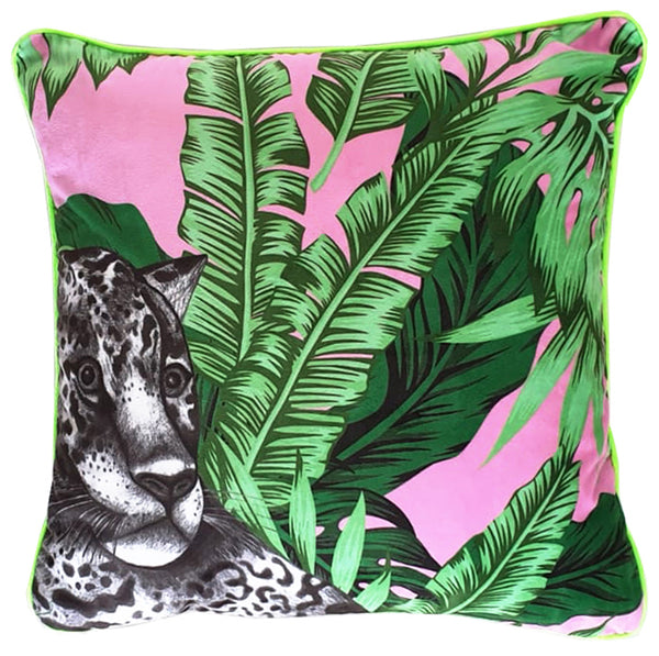 Luxury Velvet Jaguar Cushion (pink & green)