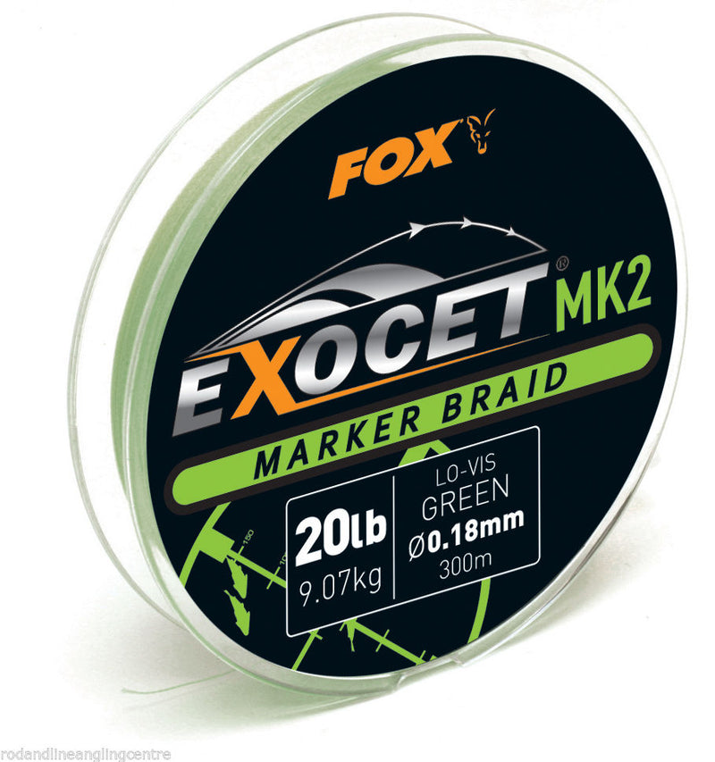 Fox Exocet MK2 Marker Braid 300m 20lb Green