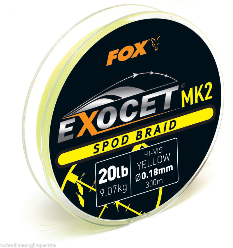 Fox NEW Carp Fishing Exocet MK2 Spod Braid 300m 20lb Yellow