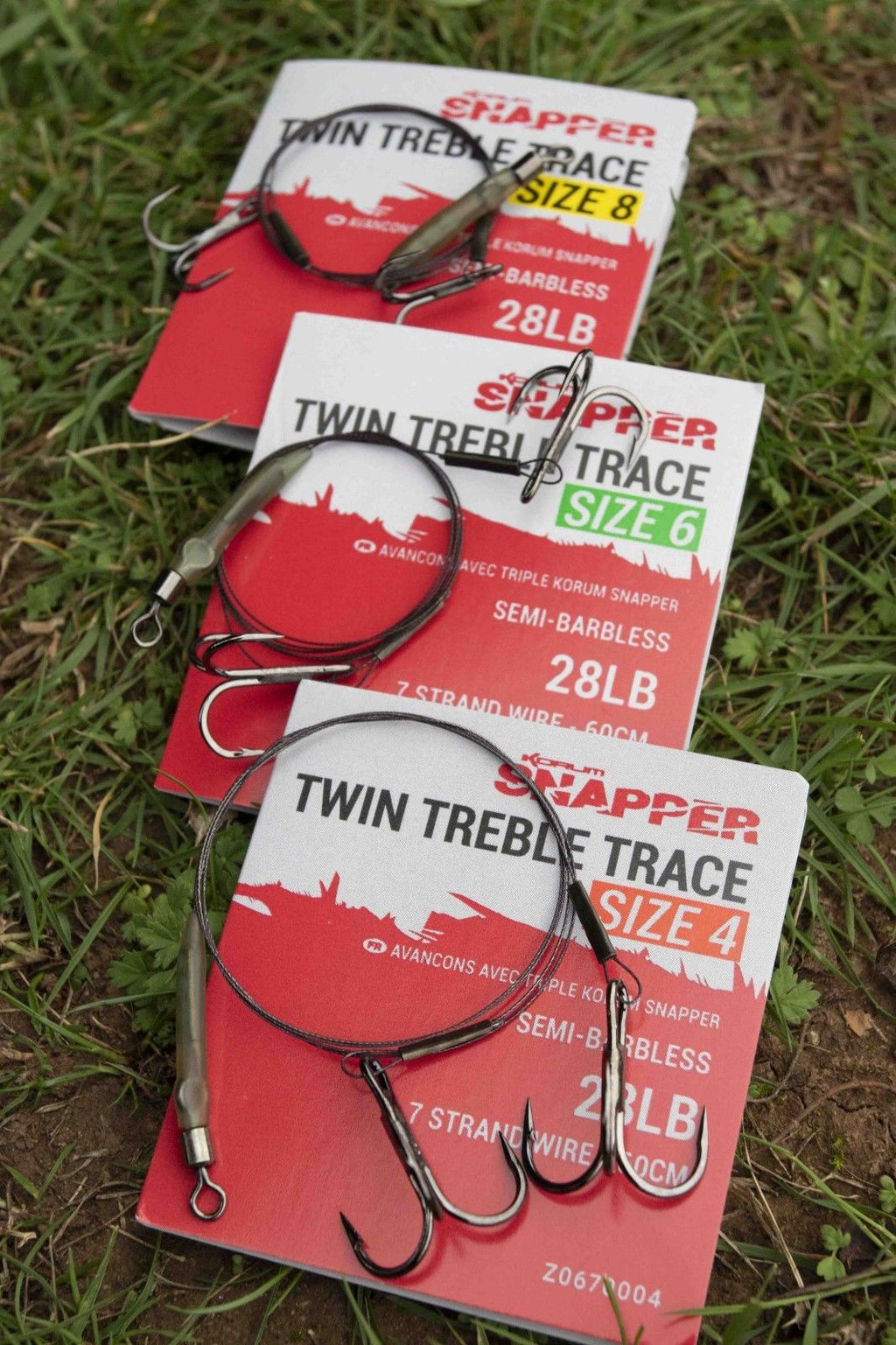 Korum Snapper Twin Treble Semi Barbless Wire Trace