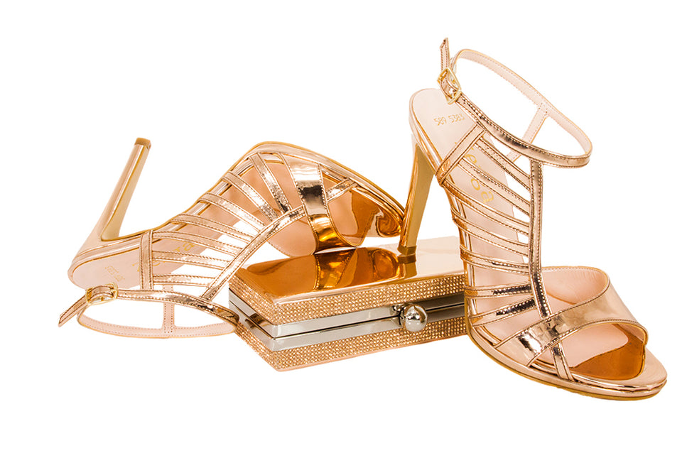 BETUSH  Sandal & LASI Clutch - Rose Gold Metallic Mirror Leather  | Zerga Shoes