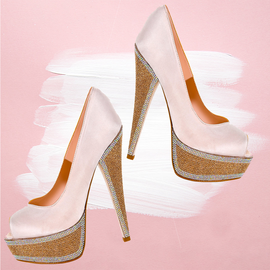 HEDLA Powder Pink Rhinestone Pumps | Zerga Shoes