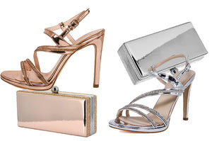 ZOLA  Sandal & LASI Clutch Rose Gold, Silver Metallic Mirror Leather, Crystal Rhinestone | Zerga Shoes