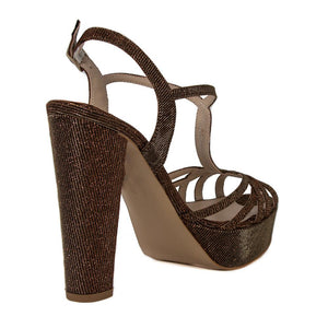 ANKA Bronze Gold Open Toe Women's Platform High Heel Handmade Sandal | Zerga Shoes