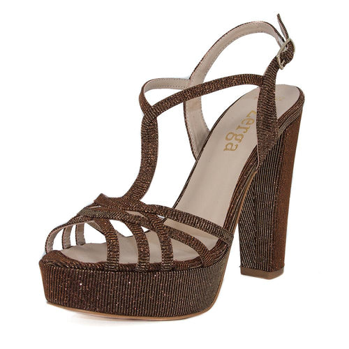 ANKA Bronze Gold Open Toe Platform High Heel Handmade Sandal | Zerga Shoes