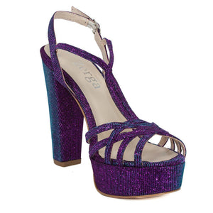 ANKA Purple Turquoise Open Toe Platform High Heel Handmade Sandal | Zerga Shoes
