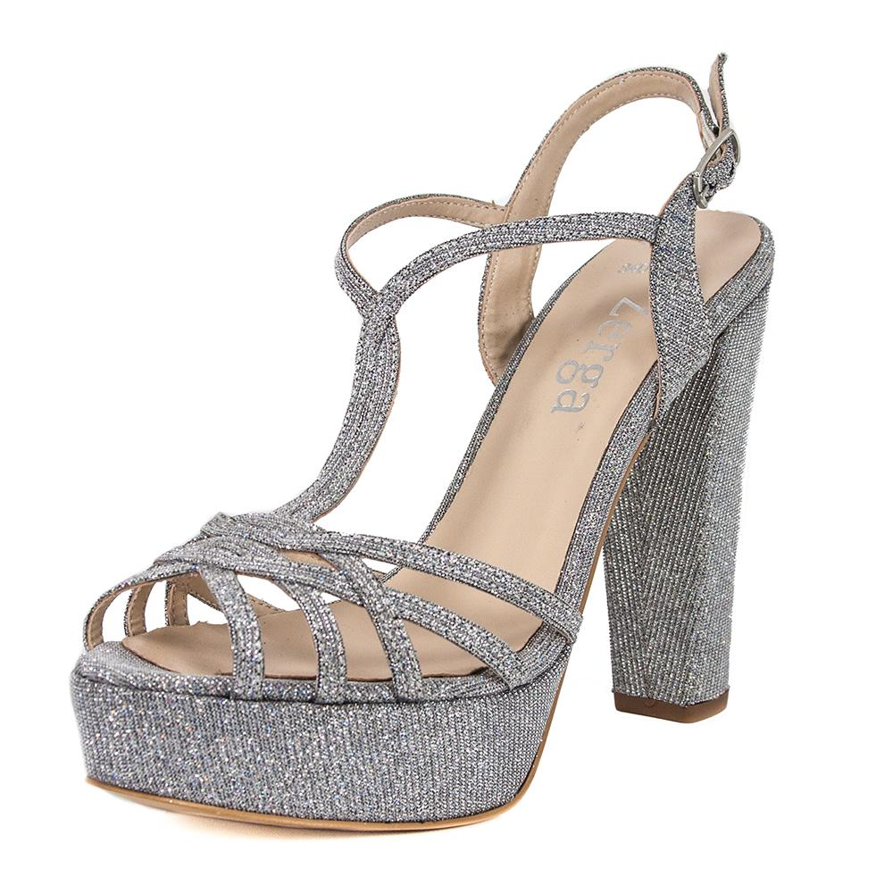 ANKA Silver Diamond Open Toe Platform High Heel Handmade Sandal | Zerga Shoes