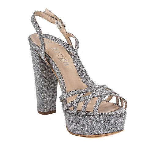 ANKA Silver Diamond Platform Wedding Sandal