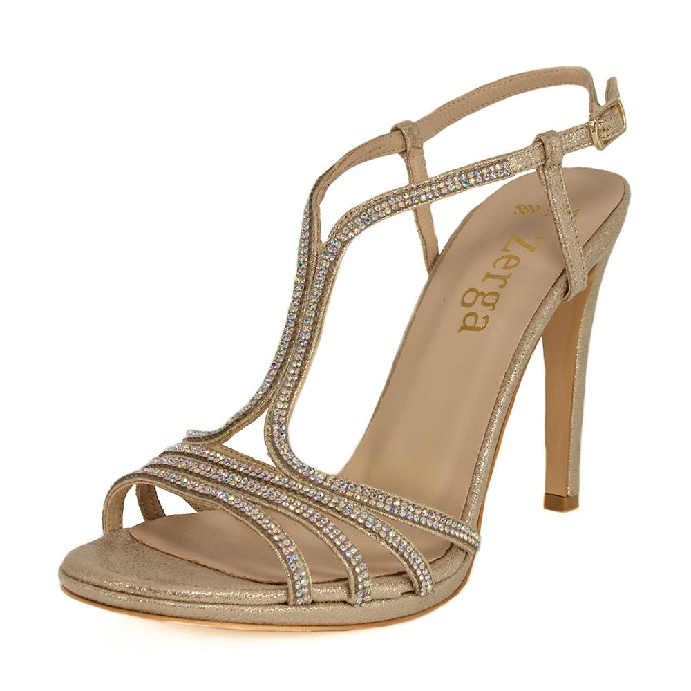 BUSE Gold Glitter Crystal Rhinestone Open Toe High Heel Sandal | Zerga Shoes