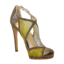 BETULLE Gold Glitter Metal Tulle High Heel Handmade Sandal | Zerga Shoes