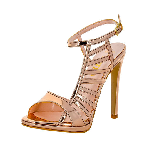 BETUSH Rose Gold Metallic Mirror High Heel Wedding Bridal Prom Sandal | Zerga Shoes