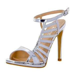 BETUSH Silver Metallic Mirror High Heel Wedding Bridal Prom Sandal | Zerga Shoes