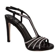 BUSE Rich Black Crystal Rhinestone Open Toe High Heel Handmade Sandal | Zerga Shoes