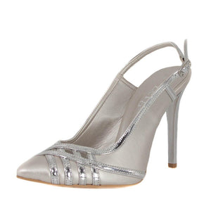 CUNDA Silver Matte Metallic Mirror High Heel Point Toe Handmade Sandal | Zerga Shoes