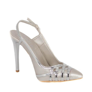CUNDA Silver Matte Metallic Mirror High Heel Point Toe Handmade Sandal
