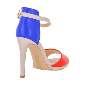 Deva Multi Color Blue Red Pink Sandal (Back View)