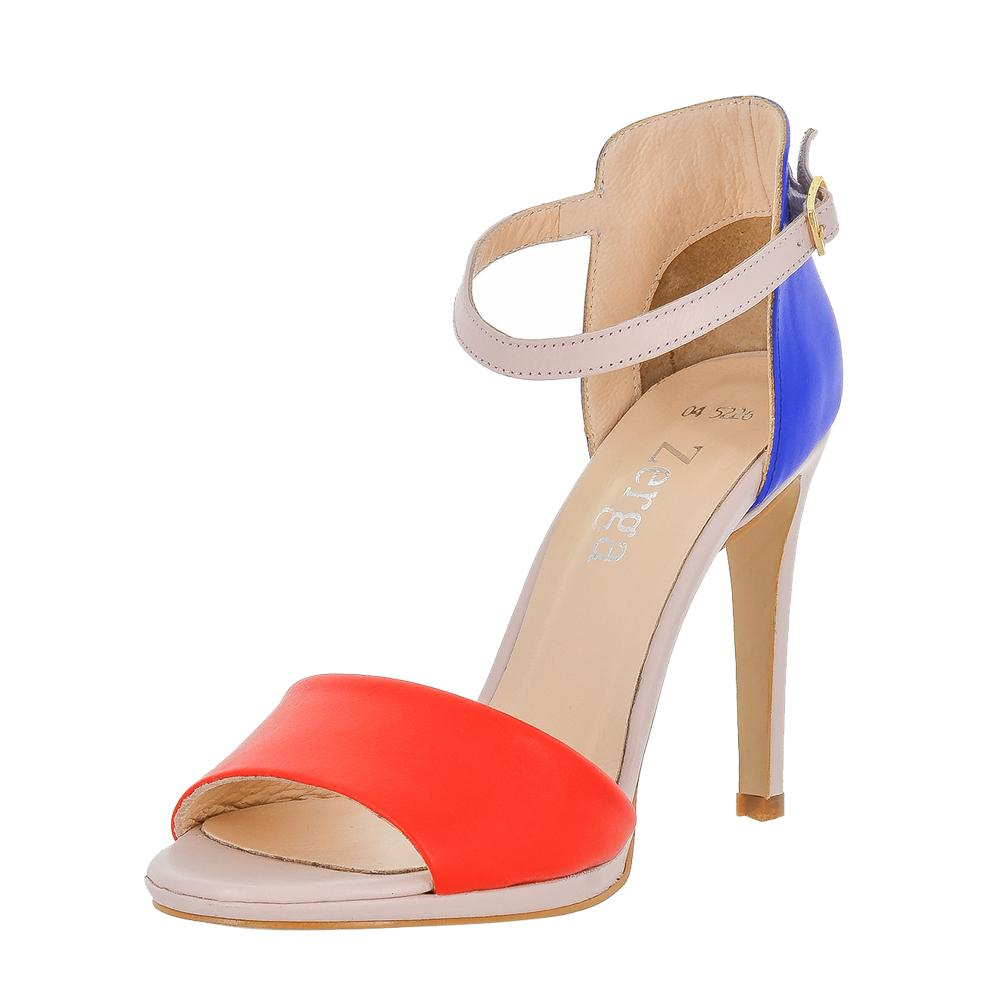 Deva Multi Color Blue Red Pink Sandal (Left View)